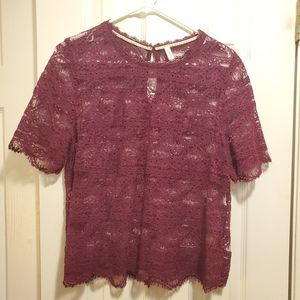 Xhilaration - maroon lace top - L